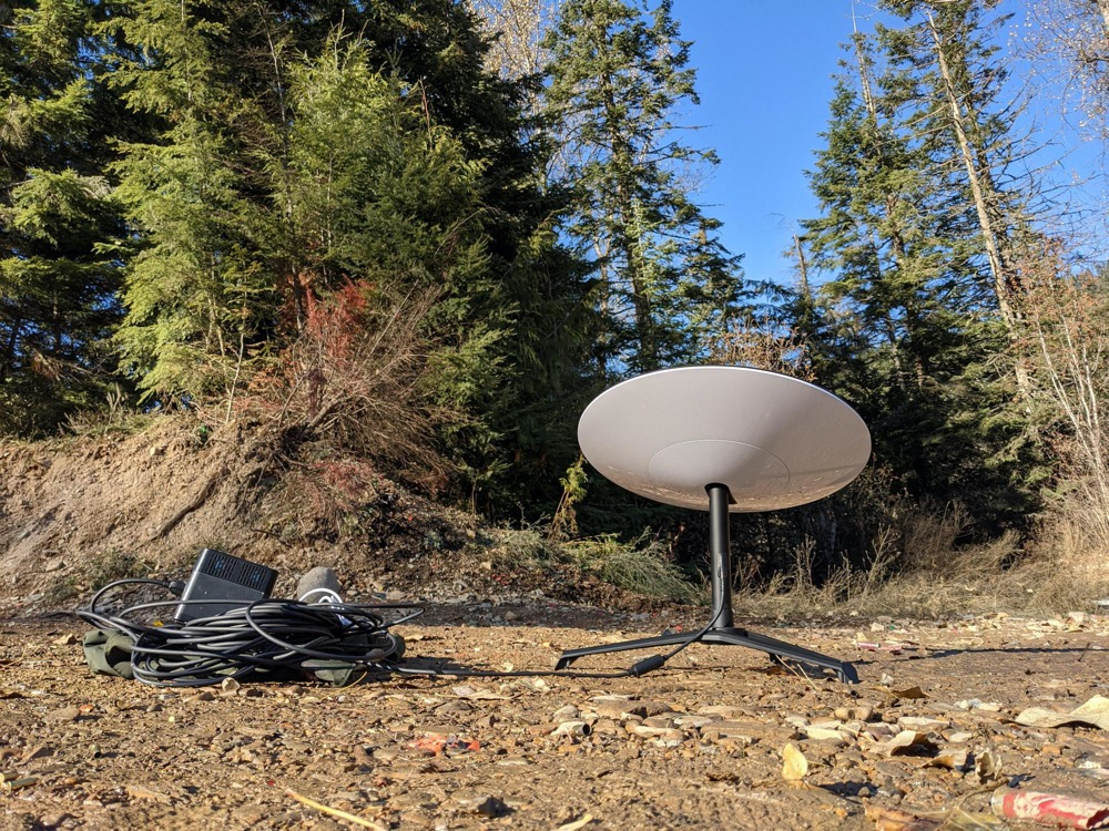 Starling satellite dish and equipment in the Cte d'Alene National Forest in Idaho Panhandles.