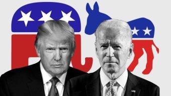 Mixed image of Donald Trump and Joe Biden in front of Republican and Democratic symbols.
