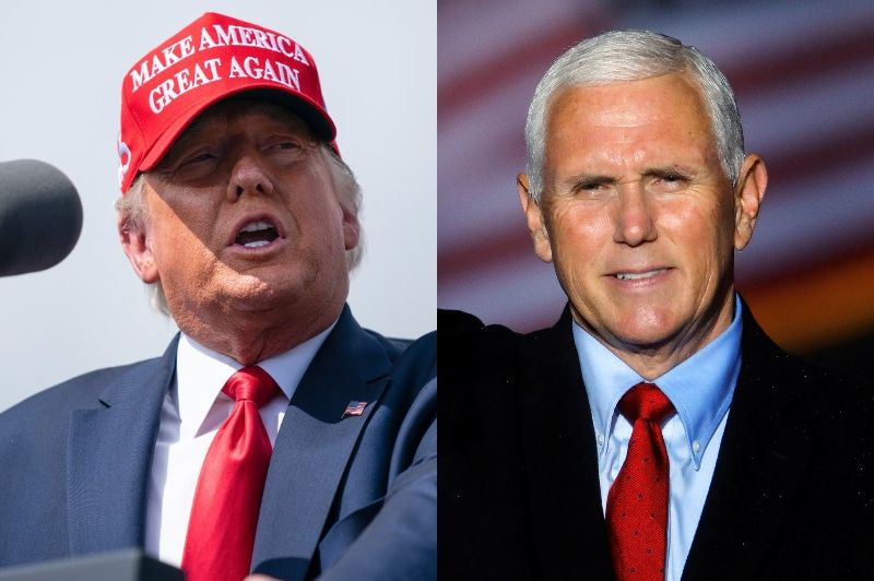 Left: Donald Trump wearing a red hat talking on a microphone.  Right: Mike Pence laughs in front of an American flag