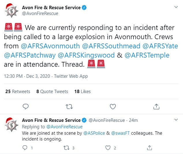 The Avon Fire and Rescue Service says a number of 'accidents' have occurred following the 'severe incident' in the Avonmouth area near Bristol