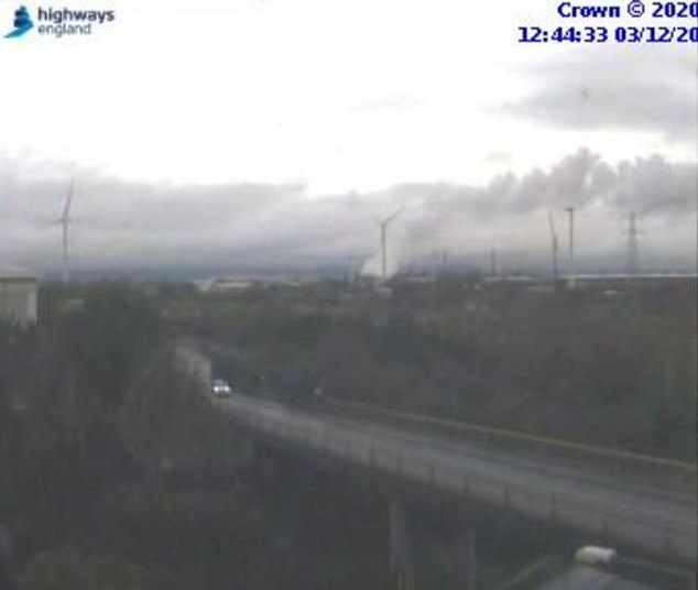 A spokesman for the fire service said a fire broke out at the site of an explosion in King Weston Lane at 11 a.m. today (pictured on a highway UK traffic camera).