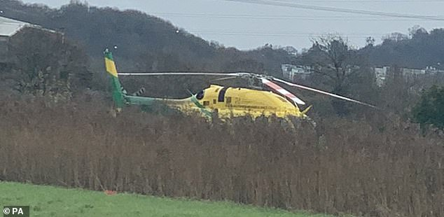 There are also photos of the scene showing an air ambulance helicopter being called to the injured.