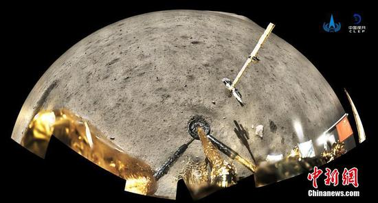 Photo provided by China National Space Administration (CNSA) shows view from the Chang-5 probe on the moon on December 4, 2020.  (CNSA photo)