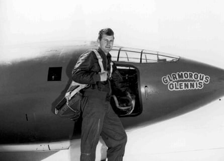 Chuck Yeager and Bell X-1 aircraft, in which he broke the sound barrier.