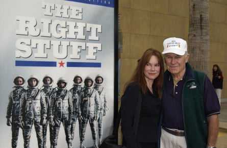 Chuck Yeager and actress Barbara Hershey at The Wright Stuff's special 20th anniversary screening in Hollywood in 2003.