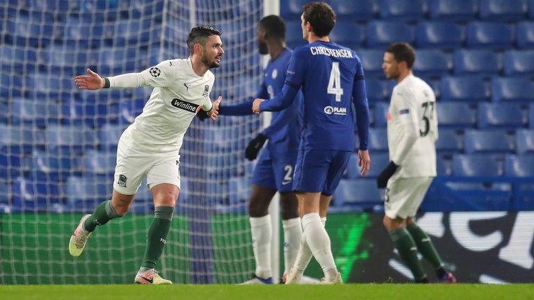 Remy Capella celebrates after giving Krasnodar a 24th minute lead
