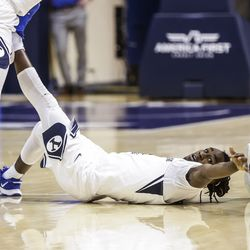 BYU guard Brandon Avert reaches a loose ball during the Cougars game against Boise State Francois on December 9, 2020 at the Marriott Center in Provo, Utah.