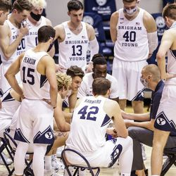 The BYU Cougars fight during a game against the Boise State Francois on December 9, 2020 at the Marriott Center in Provo, Utah.
