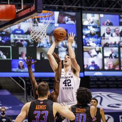 Richard Harvard of BYU takes a shot against Boise State on December 9, 2020 at the Marriott Center in Provo, Utah.
