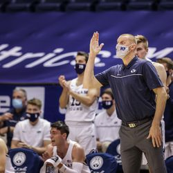 BYU Cookers head men's basketball coach Mark Pope instructs during the game against Boise State Francois on December 9, 2020 at the Marriott Center in Provo, Utah.