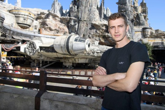 Anaheim, CA - October 29: In this manual photo provided by Disneyland Resort, actor Hayden Christensen stands in front of the Millennium Balkans: Kidnappers run into Star Wars: Galaxy Edge arrives at Disneyland Park on October 29, 2019 in Anahey, California.  (Photo by Richard Harbaugh / Disneyland Resort via Getty Images)
