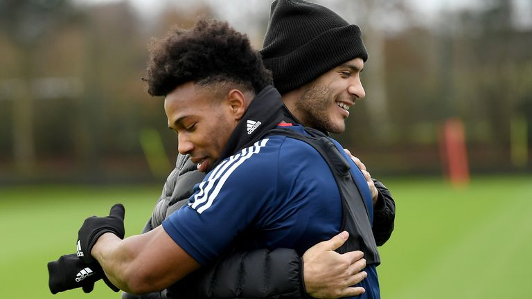 Raல்l Jimenez hugs Adama Troy as he watches the wolves & # 39;  Training ground