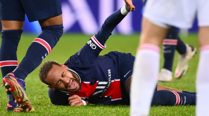 Neymar in tears after the broken ankle was suspiciously removed on a stretcher