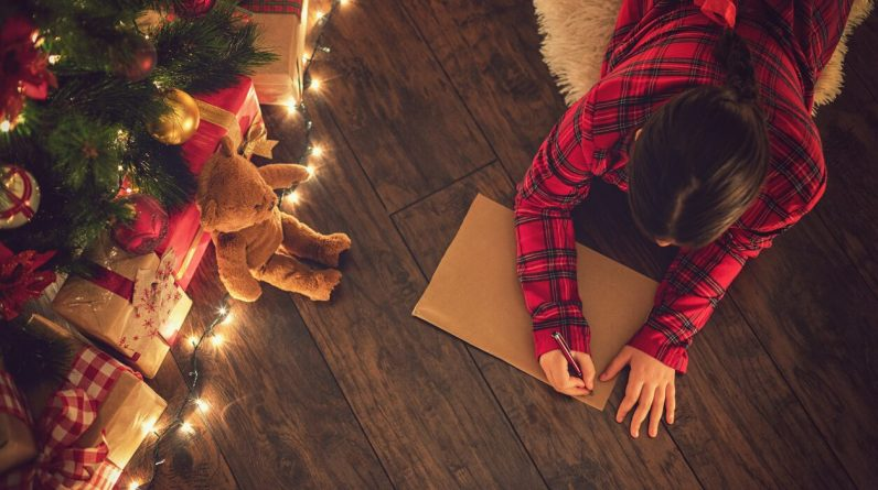 The girl tells Santa that she did naughty things this year and wants more stylized gifts