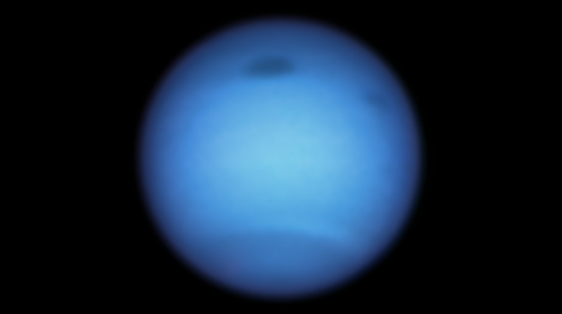 A storm on Neptune has suddenly reserved direction. Pic: NASA