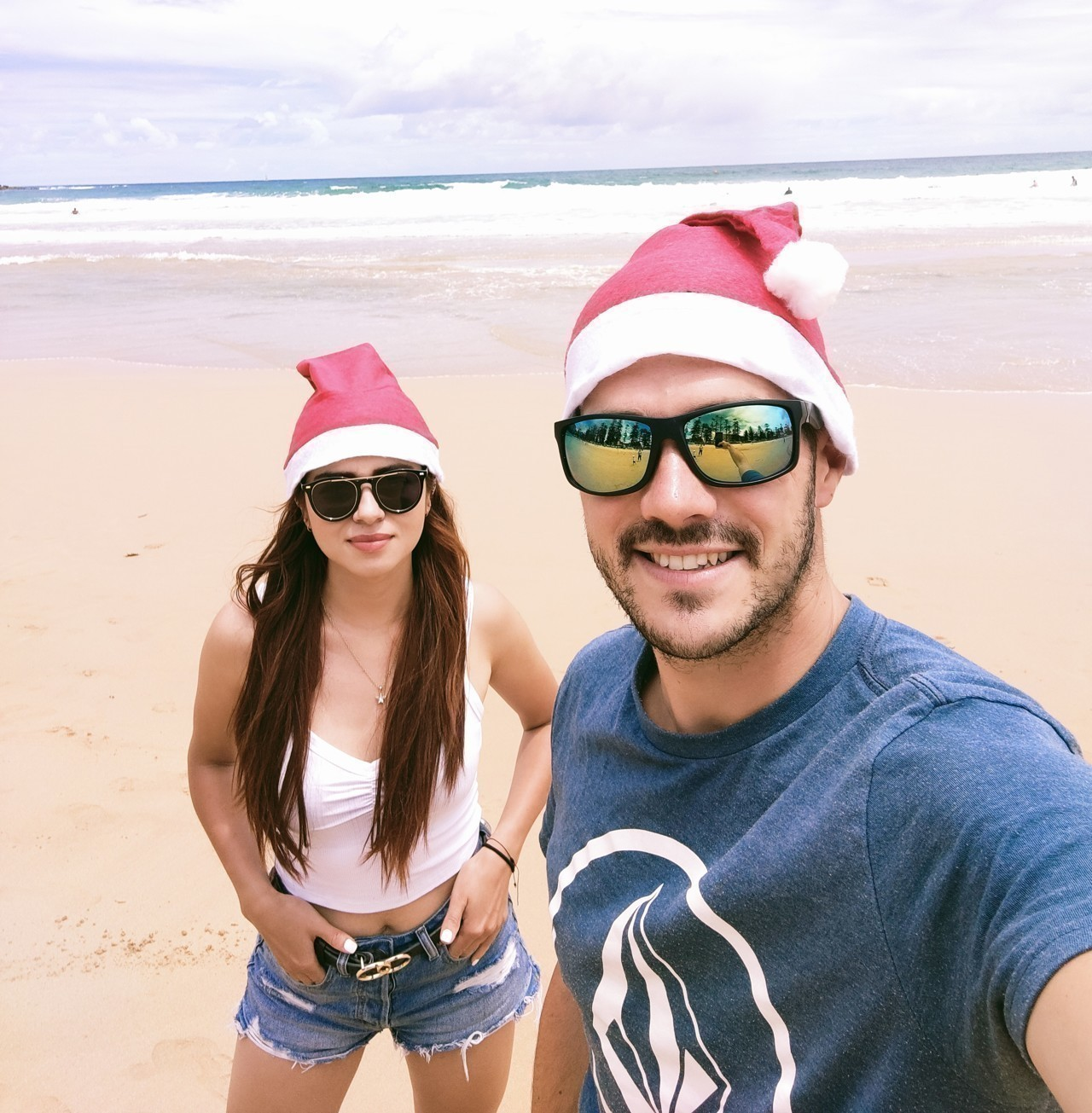 Emmanuel Caro and his friend Irma on a beach in Melbourne, Australia.