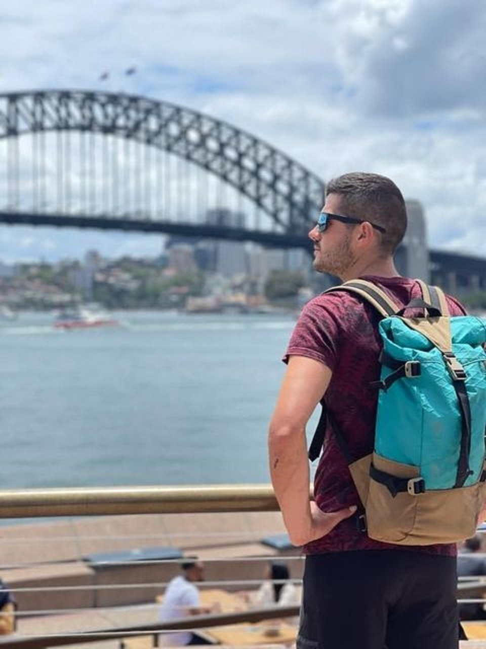 Emmanuel Caro, with his backpack, wants to explore different parts of Australia.