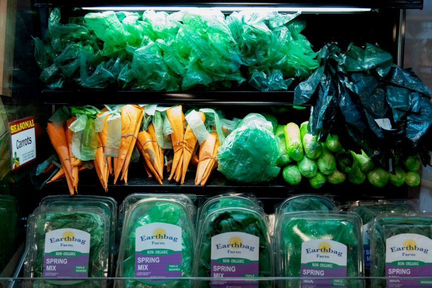 Plastic bags designed for vegetables in the grocery refrigerator.