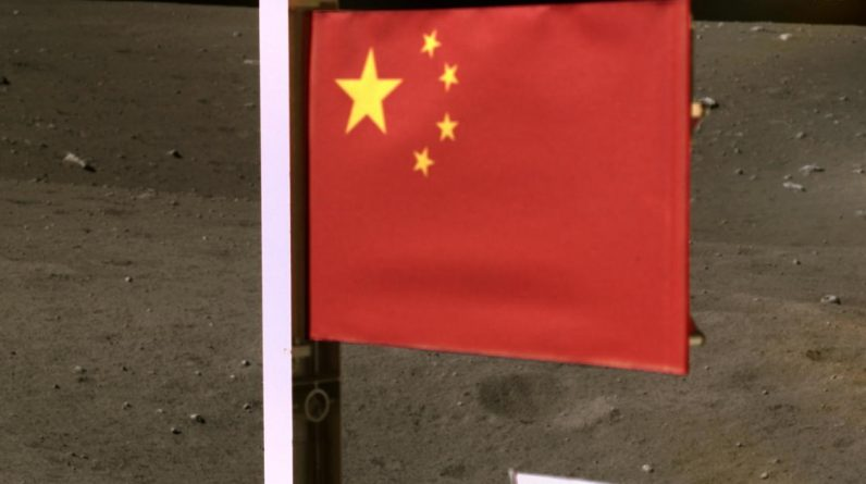China releases image of its flag on the moon as spacecraft carrying lunar rocks are thrown