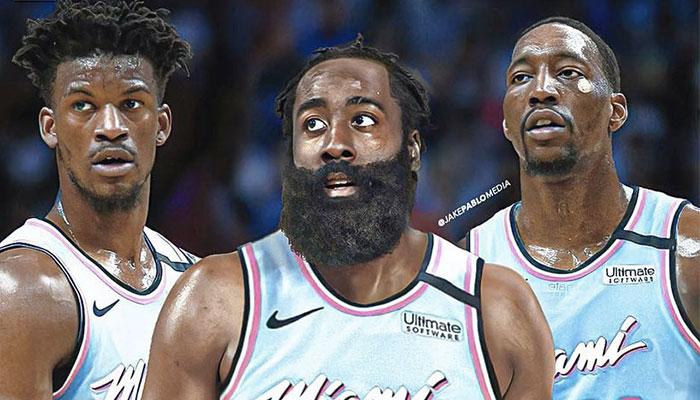 Les stars NBA Jimmy Butler (gauche), James Harden (centre) et Bam Adebayo (droite) sous le maillot du Miami Heat