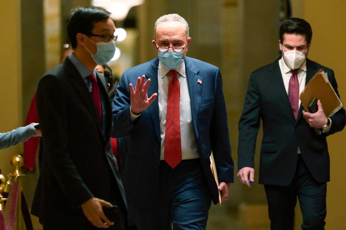 Senate Democratic Minority Leader Chuck Schumer is positive.  Picture from Capitol in Washington DC this week.