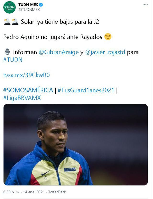 Point Pedro Aquino will be out of the USA vs. squad.  Montreal.  (Capture: Twitter)