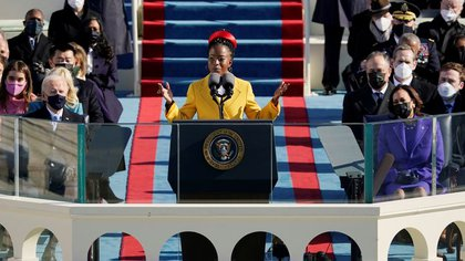 Poet Amanda Gorman reads a poem at Pitton's inauguration on January 20, 2021.  Via Patrick Semansky / Pool REUTERS