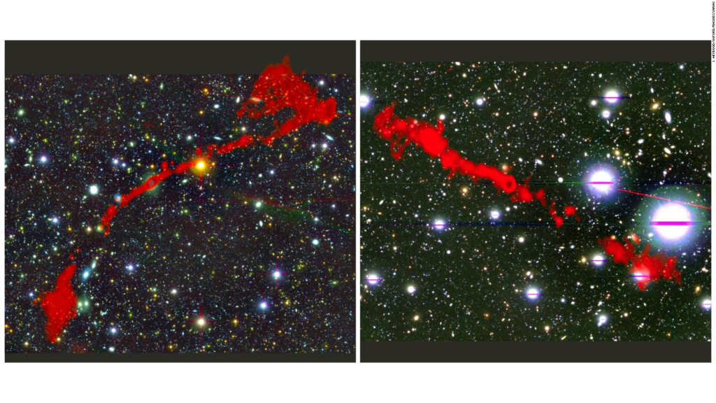 The study reveals two large radio galaxies