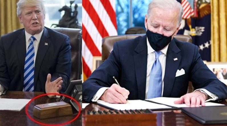 Biden destroys Trump identity ... Change portrait and remove 'collar button'
