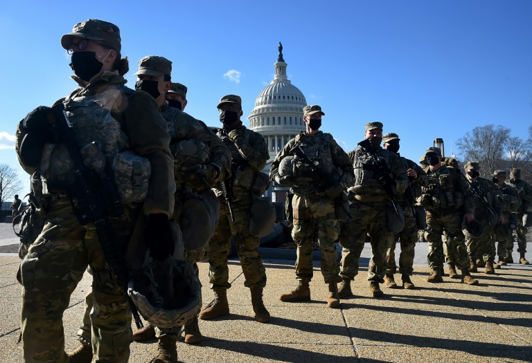 January 19, 2021 Members of the National Guard in front of the Capitol in Washington