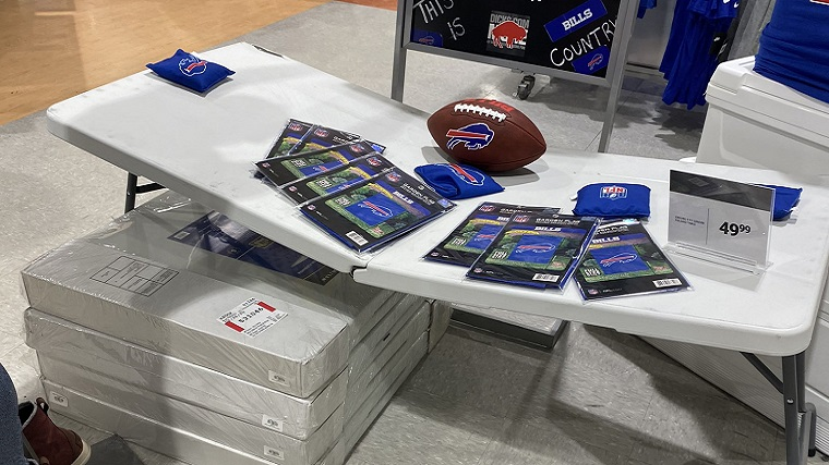 Bills Mafia tables Dick's Sporting Goods