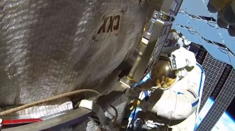 The impact caused a crack in the space station ...