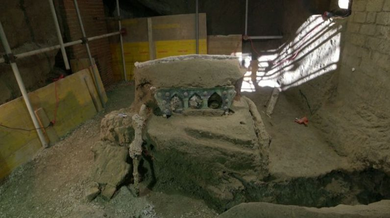 A fantastic discovery, they found a ritual cart preserved near Pompeii