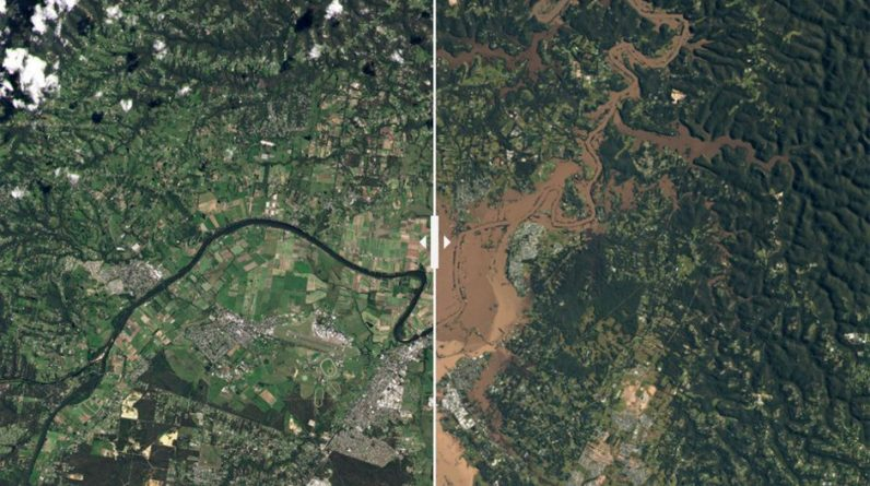 The amount of damage seen from the sky after the floods in Australia