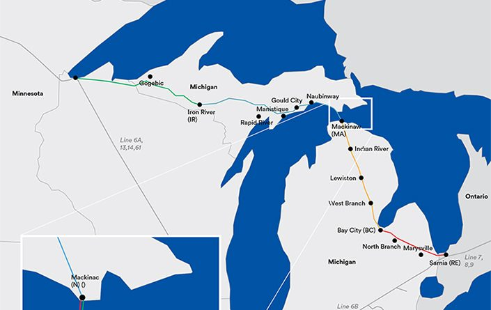 Oléoduc pétrole Grands Lacs Michigan Enbridge