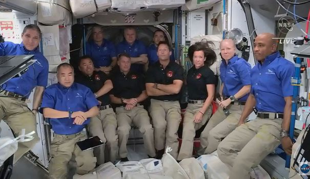 In films, in films.  Thomas Baskett and his crew joined the International Space Station