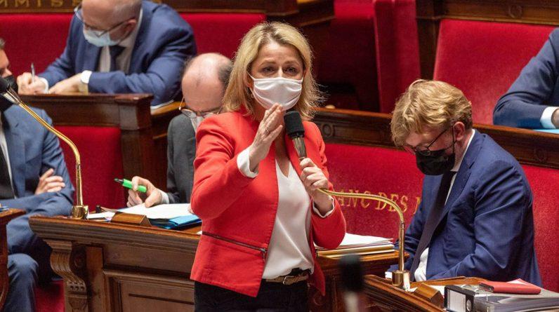 Barbara Pompili, la ministre de la Transition écologique, jeudi soir, à l'Assemblée nationale, où étaient débattues les dispositions relatives aux engagements volontaires verts des entreprises, dans le cadre du projet de loi sur le climat.