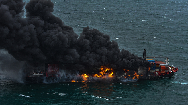 A fire has spread in a chemical container ship in Sri Lanka