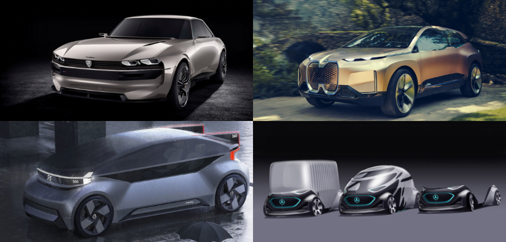 Autonomous car ideas from Peugeot, BMW, Volvo and Mercedes