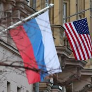 Flags Russia and the United States