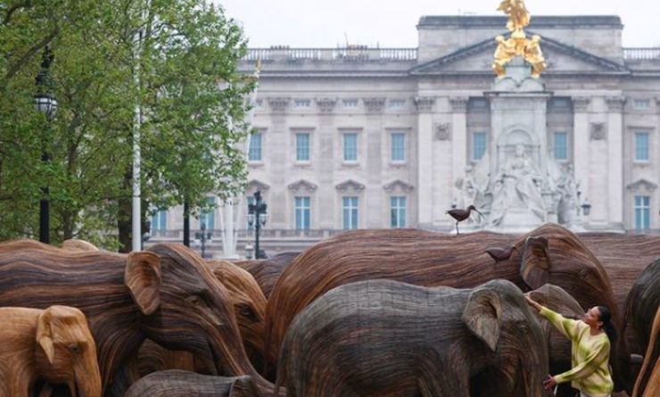 Des éléphants en bois devant Buckingham Palace