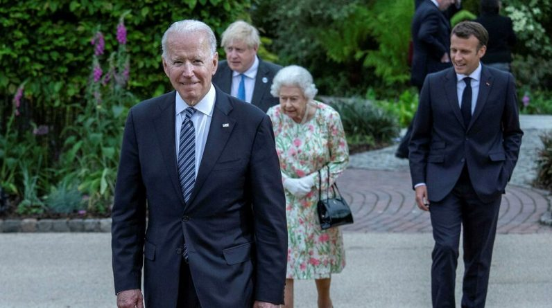 Joe Biden having tea with Queen Elizabeth at V Pitcher