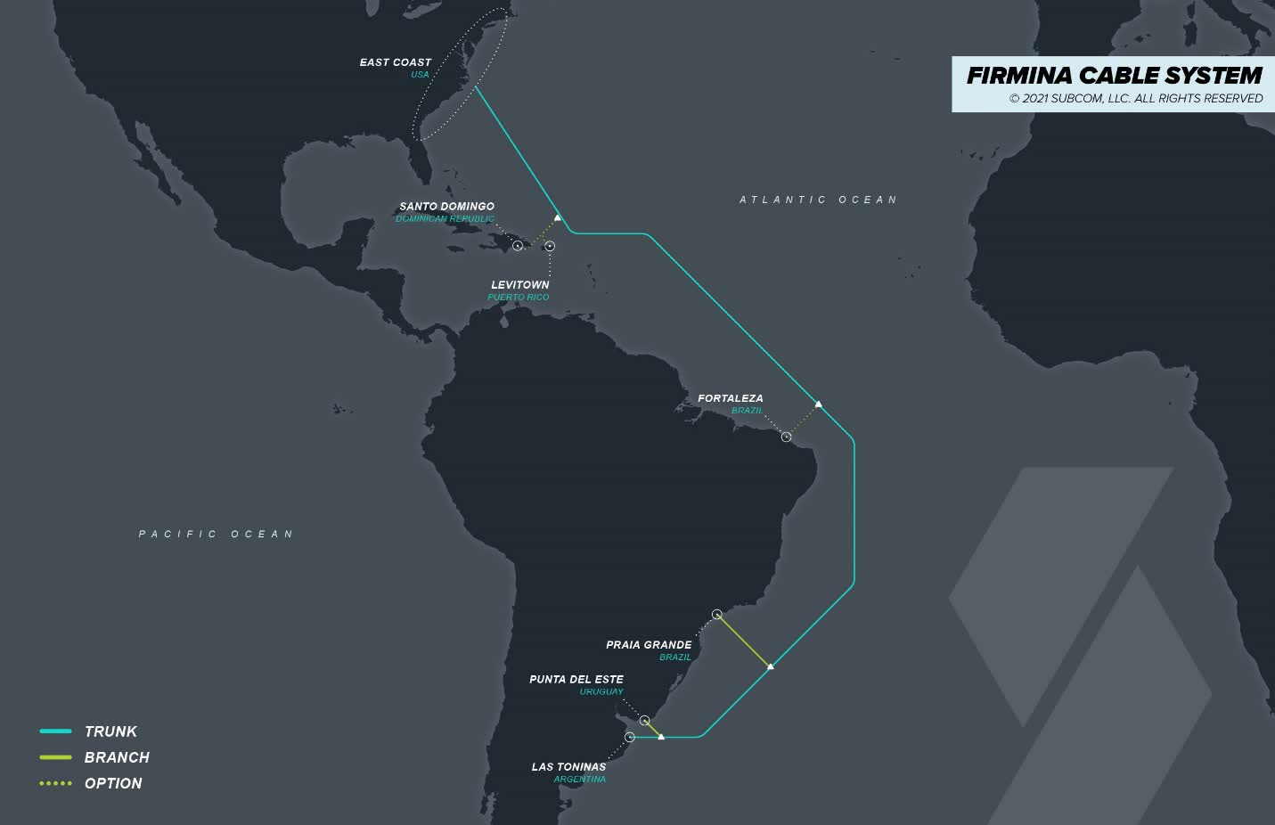 Google's new Firmina submarine cable will connect the United States