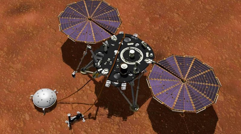 NASA's Insight Mars landing block deliberately threw dirt on it