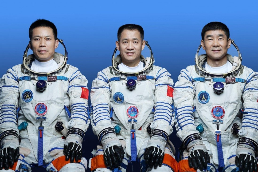 Chinese astronauts (left) Tang Hongpo, Ni Heisheng and Liu Booming were the first crew of China's space station.  Photo: Xinhua