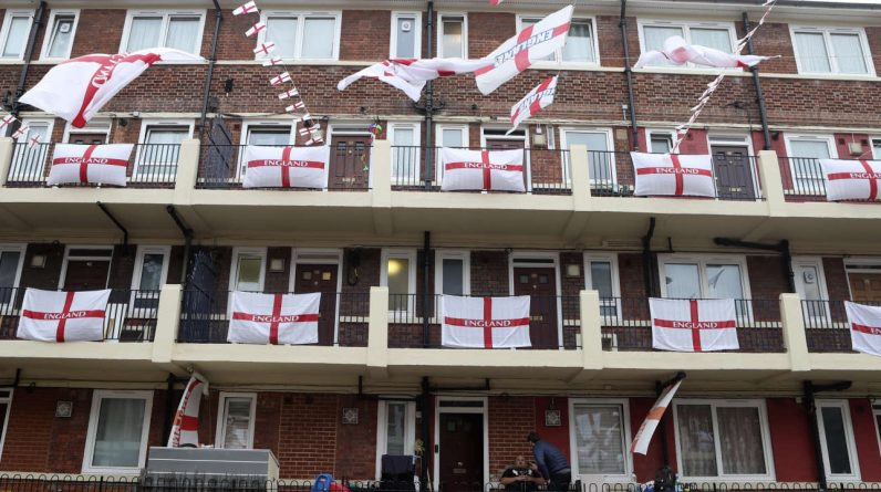 In London, the HLM City Kirby Estate, with its 700 English flags and immense confidence in success