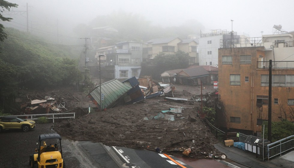Disasters: This is a picture of the devastation that came from the landslide.  Photo: STR / JIJI PRESS / Japan OUT / AFP / NTB