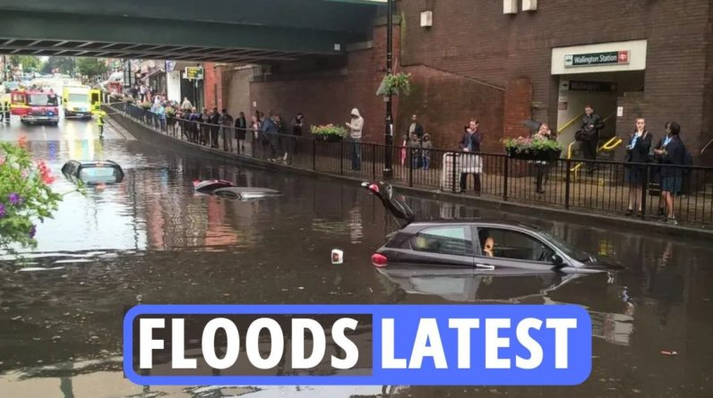 Flash Flood Live in London - Cars Underwater, Train Chaos and Brian May's House Launched Monthly Rainy Month