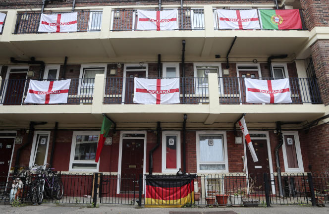 On Tuesday, June 29, 2021, a German flag, the centerpiece of the English and Portuguese flags, adorned the balconies and landings of the Kirby Home Garden in London.