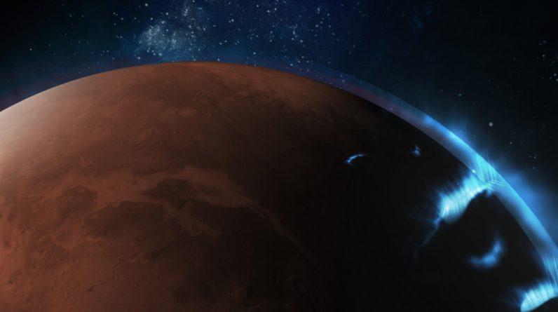Seen in Emirate orbit, in the ultraviolet glow of Aurora on Mars